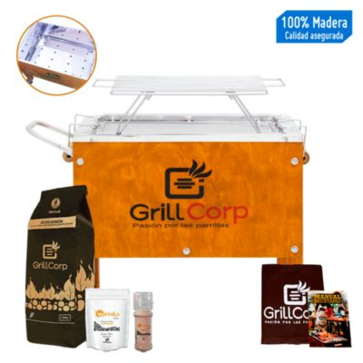 Caja China Chica Inoxidable + Parrilla de Varillas Niqueladas + Pack Parrillero