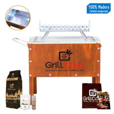 Caja China Mediana Junior Premium + Parrilla V Fija + Pack Parrillero