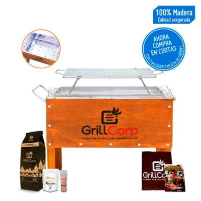Caja China Mediana Inoxidable + Parrilla de Varillas Niqueladas + Pack Parrillero