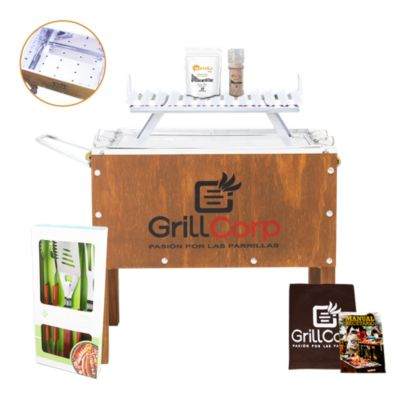 Caja China Mediana Junior Inoxidable + Parrilla V Fija + Set Parrillero