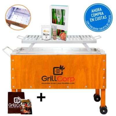 Caja China Grande Inoxidable + Parrilla de Platinas Niqueladas + Pack Parrillero