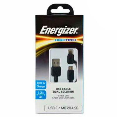 Cable 2 en 1 con Micro USB 2.4A Negro