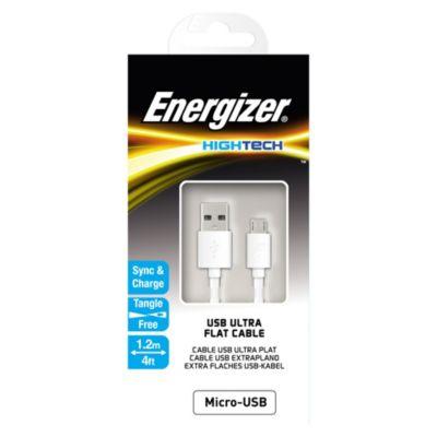 Cable Plano Micro USB 2.4A 1.2m Blanco