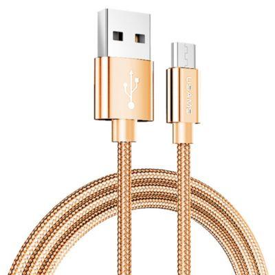 Cable USB Tejido Micro 2m Dorado