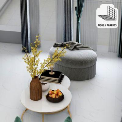 Gres Porcelánico Blanco Marmolizado 60x60 cm para piso o pared