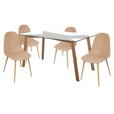 Mesa de Vidrio para Comedor + Set x2 Sillas Tamesis Beige