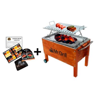 Caja China Mediana Premium Junior Acero Mixta + Parrilla Ángulos Niquelado