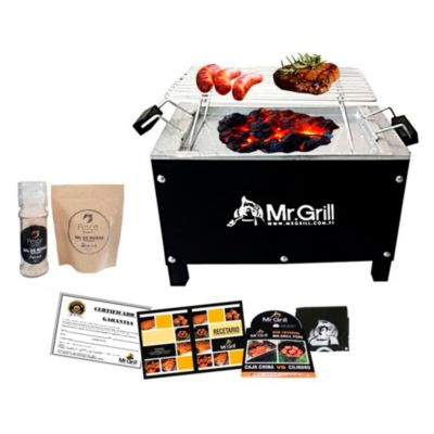 Caja China Mini Black Edition Acero Galvanizado + Parrilla Varillas Niquelada + Kit Sal Maras
