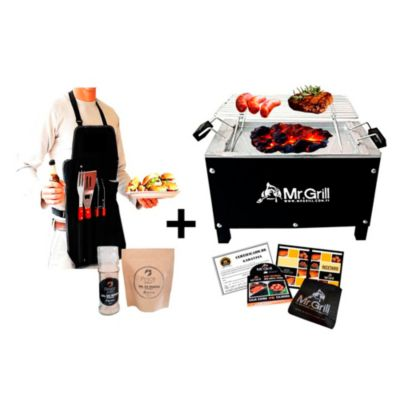 Caja China Mediana SR Black Edition Acero Galvanizado + Parrilla Varillas Niquelado + Mandil Utensilios BBQ x 3 + Kit Sal Maras