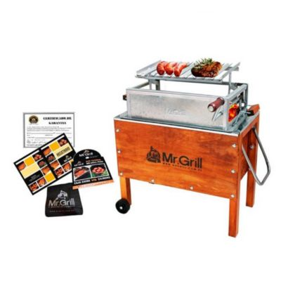 Caja China Mediana Premium Junior Acero Galvanizado + Parrilla con Regulador de Altura