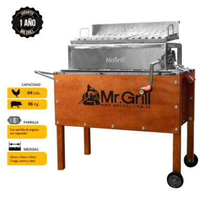 Caja China Mediana Premium Junior Acero Inoxidable + Parrilla con Regulador de Altura Niquelada