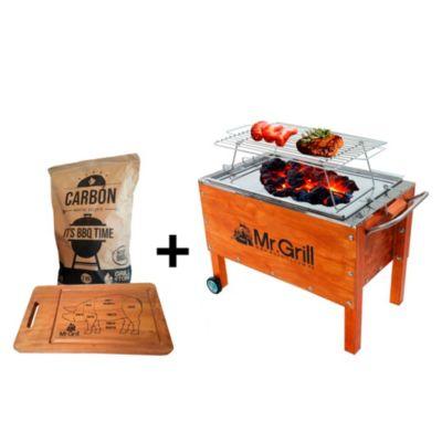 Caja China Mediana Acero Galvanizado + Parrilla Varillas Niquelada + Tabla Pig + Carbón