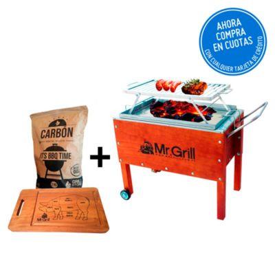 Caja China Mediana Premium Acero Mixta + Parrilla Platinas Niquelada + Tabla Pig + Carbón
