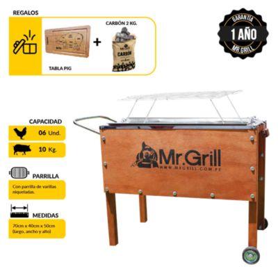 Caja China Mediana Premium Acero Inoxidable +Parrilla Varillas Niquelada + Tabla Pig + Carbón