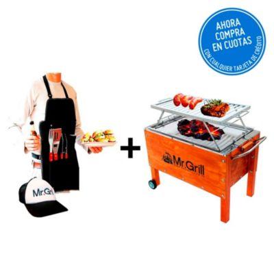 Caja China Mediana Premium Acero Inoxidable + Parrilla Platinas Niquelada + Gorra + Mandil Utensilios BBQ