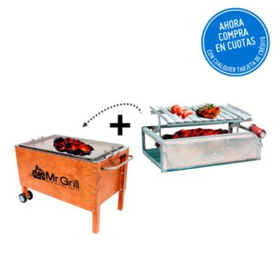 Caja China Grande Acero Inoxidable + Parrilla con Regulador de altura