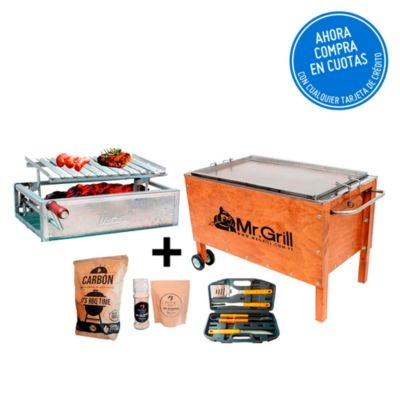 Caja China Grande Acero Inoxidable + Parrilla con Regulador de Altura + Maletín BBQ + Carbón + Kit Sal Maras