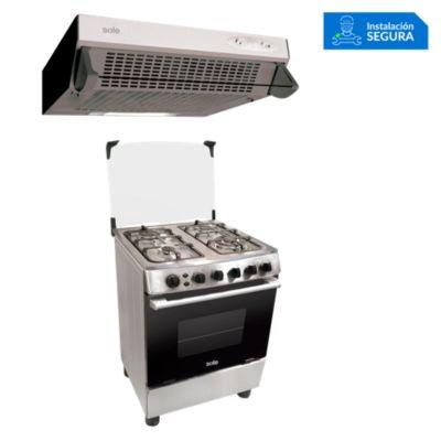 Combo Cocina de Pie COSOL027 + Campana Extractora TURE11GO