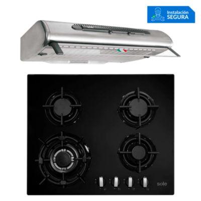 Combo Cocina a Gas SOLCO034 + Campa Extractora TURE46CO