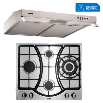 Combo Cocina a Gas SOLCO037 + Campana Extractora TURE16CO