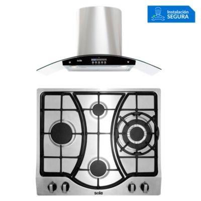 Combo Cocina a Gas SOLCO037 + Campana Extractora TURE63CO