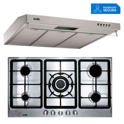Combo Cocina a Gas SOLCO038 + Campana Extractora TURE17CO