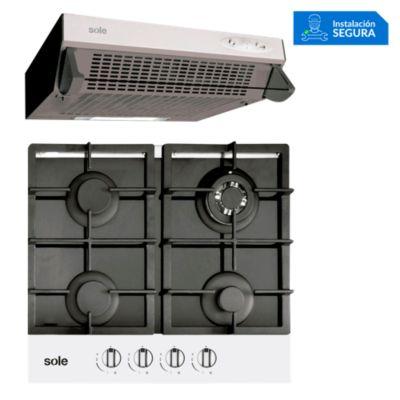 Combo Cocina a Gas SOLCO028 + Campana Extractora TURE11GO