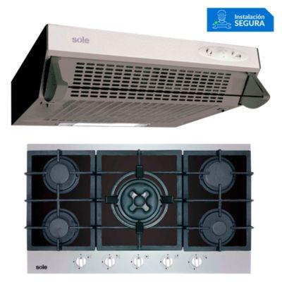 Combo Cocina a Gas SOLCO039 + Campana Extractora TURE10GO