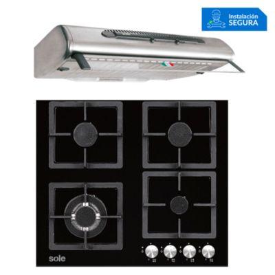 Combo Cocina a Gas SOLCO040 + Campana Extractora TURE46CO