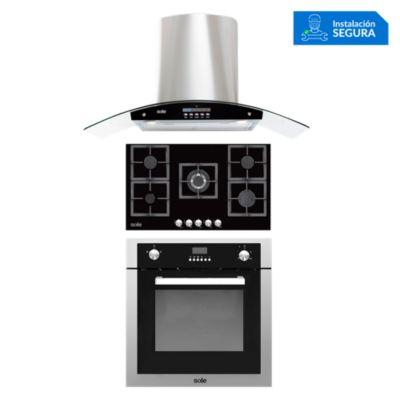 Combo Cocina a Gas SOLCO041 + Campana Extractora TURE63CO + Horno a Gas SOLHO007