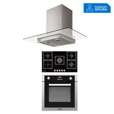 Combo Cocina a Gas SOLCO041 + Campana Extractora TURE80CO + Horno a Gas SOLHO007