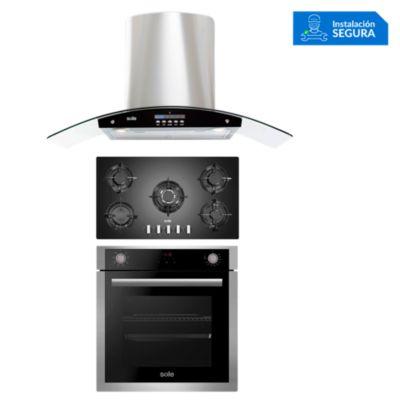 Combo Cocina a Gas SOLCO033 + Campana Extractora TURE63CO + Horno Eléctrico SOLHO012