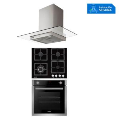 Combo Cocina a Gas SOLCO040 + Campana Extractora TURE80CO + Horno Eléctrico SOLHO012