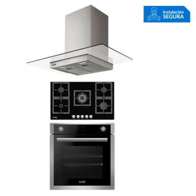 Combo Cocina a Gas SOLCO041 + Campana Extractora TURE80CO + Horno Eléctrico SOLHO012