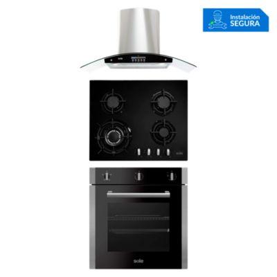 Combo Cocina a Gas SOLCO034 + Campana Extractora TURE63CO + Horno Eléctrico SOLHO010