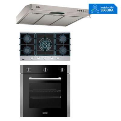 Combo Cocina a Gas SOLCO039 + Campana Extractora TURE17CO +  Horno Eléctrico SOLHO010