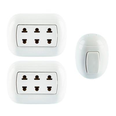 Combo 2 Tomas Triple Universal Blanco + Interruptor Simple Ovalado Blanco