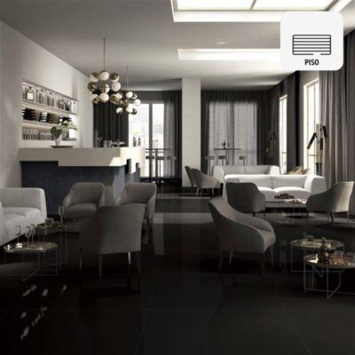 Porcelanato Súper Negro Liso 60x120 cm para piso