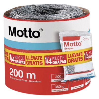 Alambre Púa Motto 200m + Grapa Motto 1/4kg