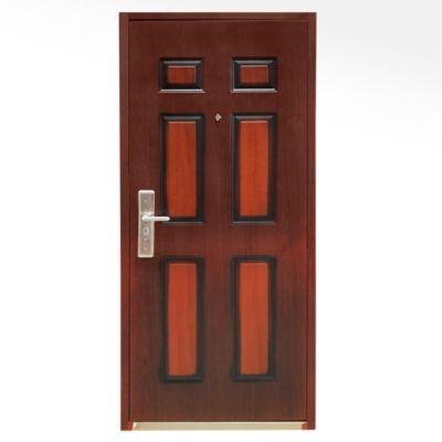 Puerta Seguridad de Acero 6 paneles Madera Derecha 86 x 205 Marco y Cerradura incluido