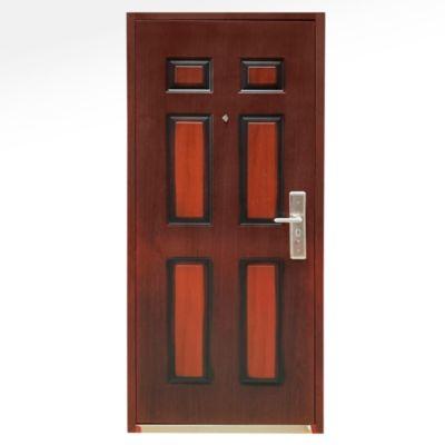 Puerta Seguridad de Acero 6 paneles Madera Derecha 86 x 205 cm Marco y Cerradura incluido