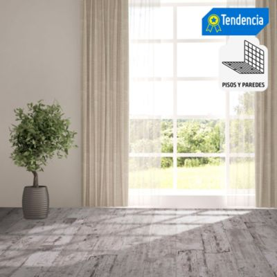 Porcelanato Tablón Woodsman Count Gris Maderado 20x120 cm para piso o pared