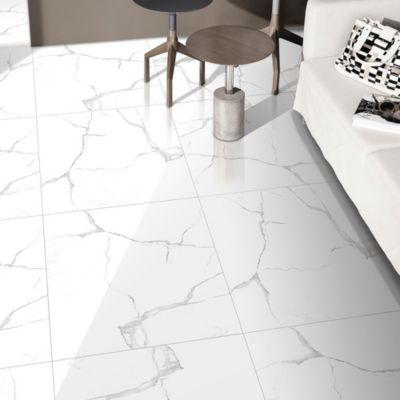 Porcelanato Torino Blanco Marmolizado 60x60cm para piso
