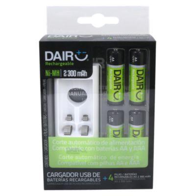 Cargador USB + Pilas Recargables AA x 4 Unidades