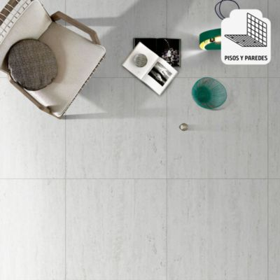 Porcelanato Travertino Blanco Marmolizado 60x60 cm para piso o pared