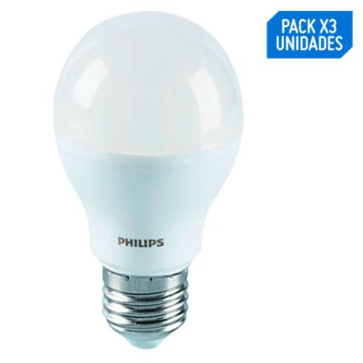 Pack x3 Foco LED Bulbo A60 E27 9W Luz Amarilla