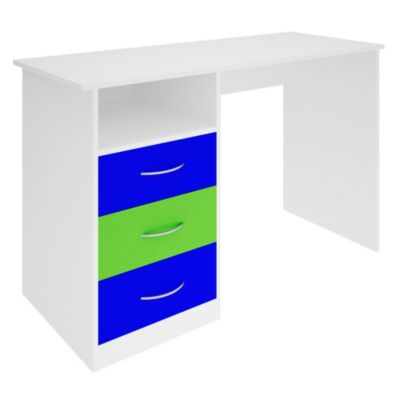 Escritorio 3 cajones Azul y Verde