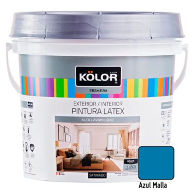 Pintura Látex Satinado 4L Azul Malla