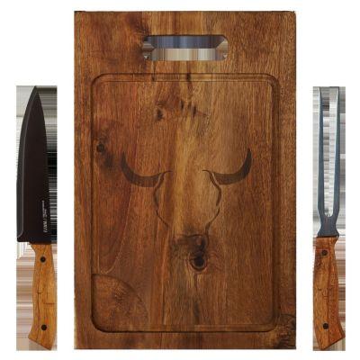 Set BBQ Tabla + Cuchillo + Tenedor