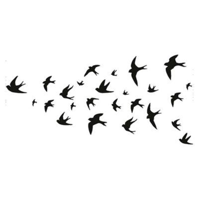 Vinilo Bandada de aves Negro 140x67cm